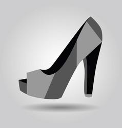 Single women peep toe high heel pattern shoe icon vector