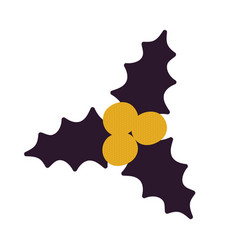 yellow berries black leaves vector image vector image