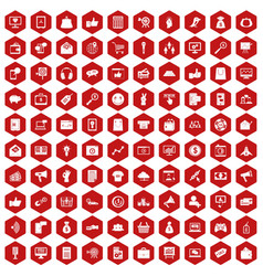 100 digital marketing icons hexagon red vector image