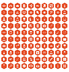 100 doctor icons hexagon orange vector