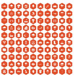 100 rain icons hexagon orange vector