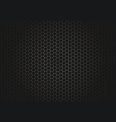 abstract black hexagon pattern on glowing gold vector image