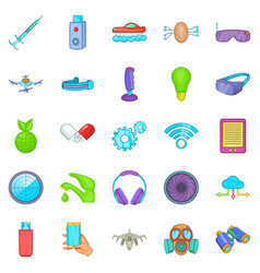 Achievement icons set cartoon style vector