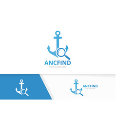 anchor and loupe logo combination marine vector image