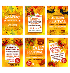 autumn harvest festival poster template set design vector image