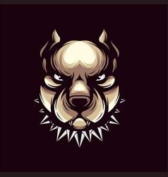 awesome angry dog logo design vector image