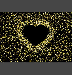 Background heart flying pieces foil vector