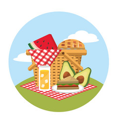 Basket with watermelon and sandwich food in the vector