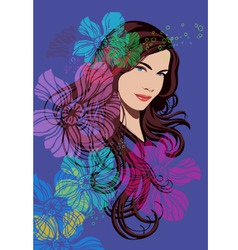 Beautiful girl and flowers vector