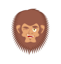 Bigfoot winks emoji yeti joyful emotion face vector