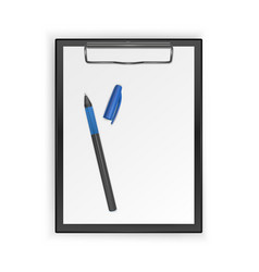 black clipboard with blank white sheet and vector image