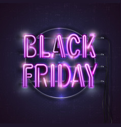 black friday neon light banner vector image