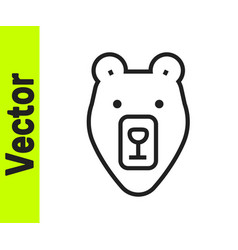 black line bear head icon isolated on white vector image