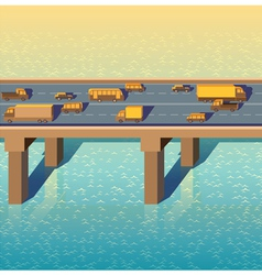 bridge with cars vector image
