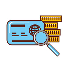 business money cerdit card bank magnifying glass vector image