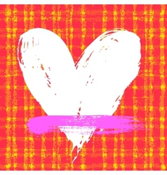 Card with hand drawn heart on plaid background vector