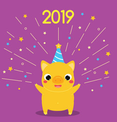 cartoon yellow pig symbol of 2019 year party with vector image