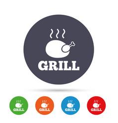 Chicken grill sign icon hen bird meat symbol vector