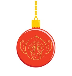Christmas ball with a picture of a monkey vector