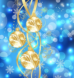 Christmas holiday background with golden balls vector image