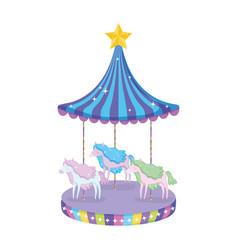 circus carousel scene icon vector image