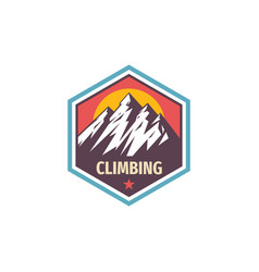 climbing extreme sport - concept badge design vector image