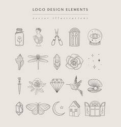 collection fine hand drawn logos and icons vector image