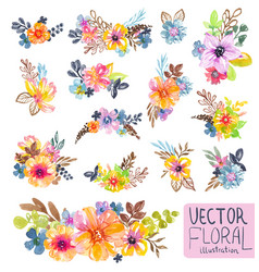 Colorful floral collection with flowers leaves vector