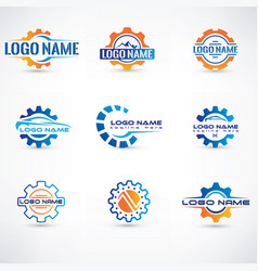 Creative gear concept logo design template vector
