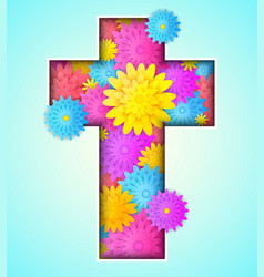 Cross with colorful flowers vector