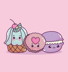 Cute food cupcake cookie and macaroon sweet vector