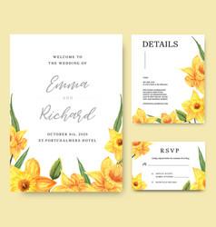 Daffodil flowers watercolor bouquets invitation vector