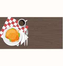 delicious hamburger and cup of coffee on table vector image