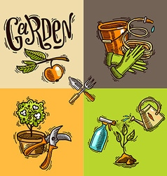doodle icons garden vector image