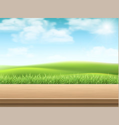 Empty wooden table on landscpe background vector