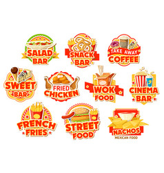 fast food restaurant labels burgers and drinks vector image