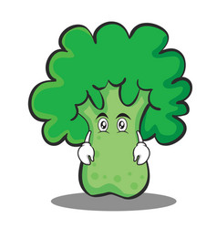 flat face broccoli chracter cartoon style vector image
