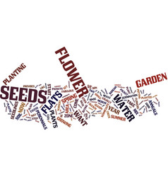 Flower seeds text background word cloud concept vector