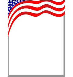 Flowing usa flag border vector