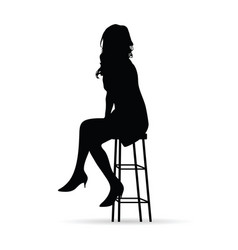 girl beauty silhouette sitting on chair vector image