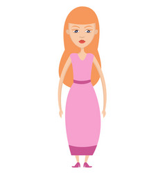 girl in pink dress on white background vector image