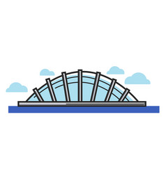 Glass dome situated on water under sky with clouds vector