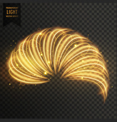 Golden transoarent light effect of half ring vector