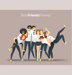 group young friends having fun together vector image