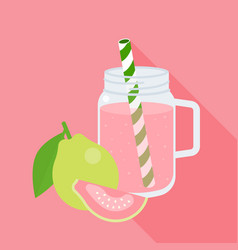 Guava juice in mason jar vector