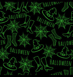 Hand drawn halloween seamless paatern with hat vector