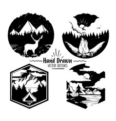 Hand drawn logo set trendy collection of outdoor vector