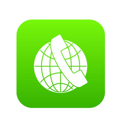 handset and globe icon digital green vector image