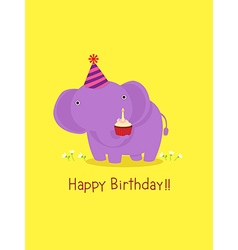 Happy birthday card with cute elephant vector