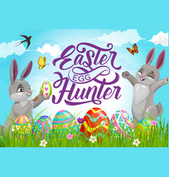 Happy easter holiday egg hunt with cartoon bunnies vector